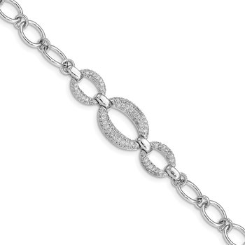 Sterling Silver Rhodium-plated CZ 3-Oval 7.5in Bracelet