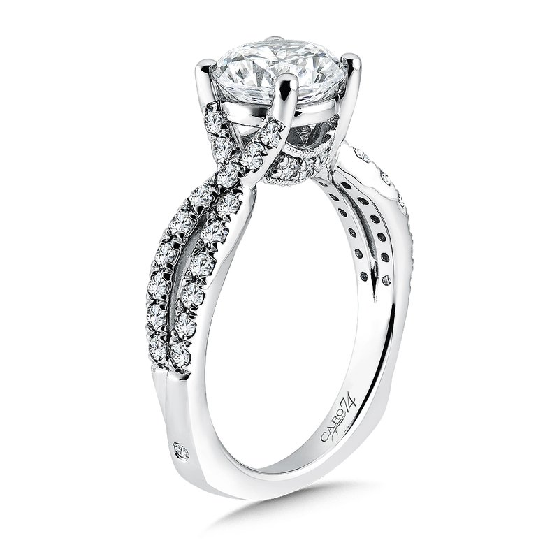 Caro74 Criss Cross Engagement Ring with Side Stones in 14K White Gold (2ct. tw.)