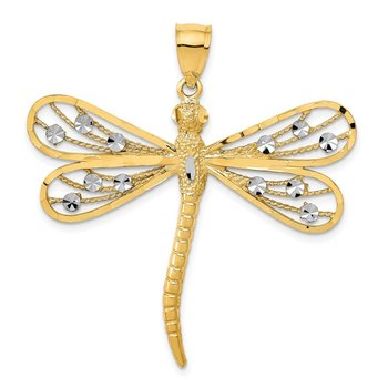 14K w/Rhodium Diamond-cut Filigree Dragonfly Pendant