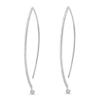 14K White Gold Curve Diamond Earrings