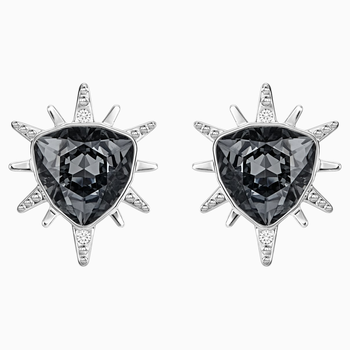 Fantastic Pierced Earrings, Gray, Rhodium Plating