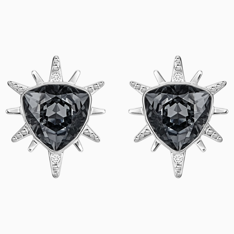 Swarovski Fantastic Pierced Earrings, Gray, Rhodium Plating
