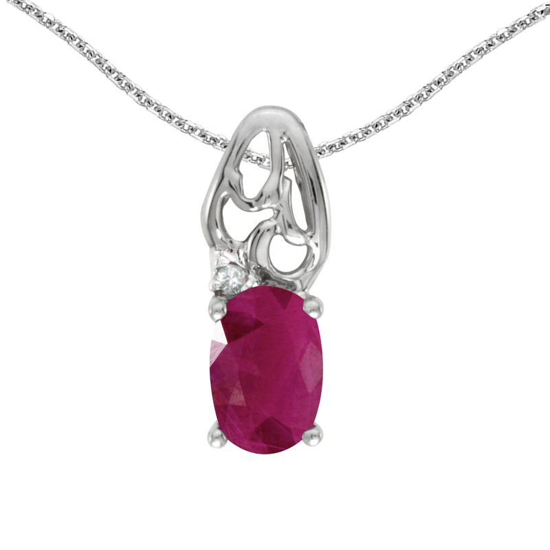Color Merchants 10k White Gold Oval Ruby And Diamond Pendant