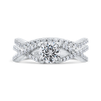 Promezza 14K White Gold Round Diamond Criss-Cross Engagement Ring