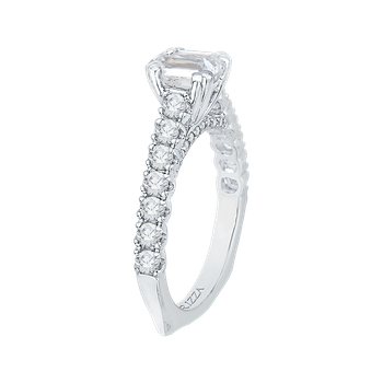 18K White Gold Emerald Cut Diamond Cathedral Style Engagement Ring with Euro Shank (Semi-Mount)
