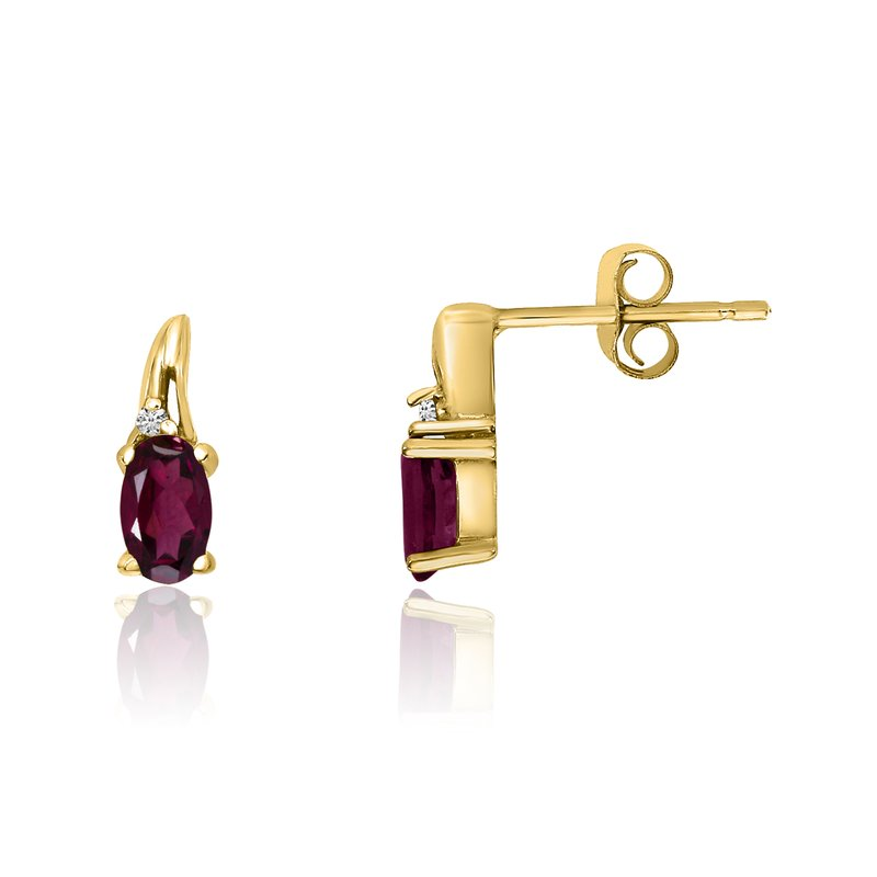 Color Merchants 14k Yellow Gold Ruby and Diamond Earrings