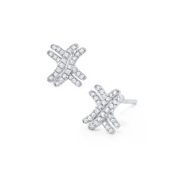 Diamond Criss-Cross Stud Earrings Set in 14 Kt. Gold