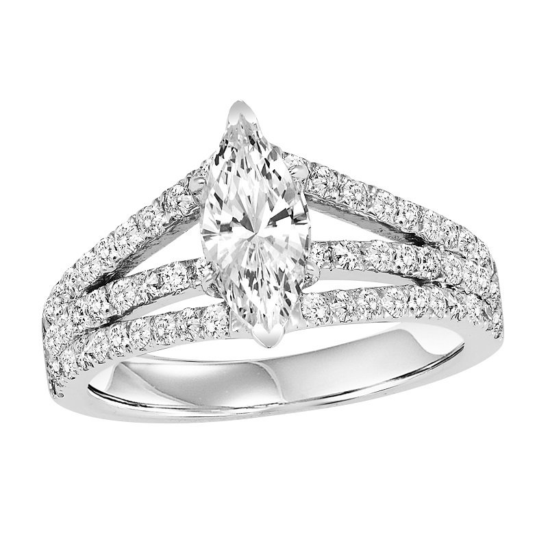 Bridal Bells 14K Diamond Engagement Ring 7/8 ctw With 1 ct MQ Center Diamond