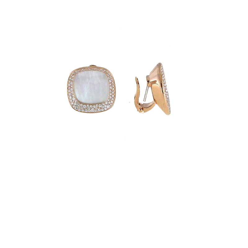 Roberto Coin 18Kt Gold Earrings With Diamonds And Mother Of Pearl