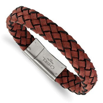 Stainless Steel Brushed Red Leather 8.25in Bracelet