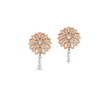 18KT GOLD FLOWER EARRINGS WITH DIAMONDS