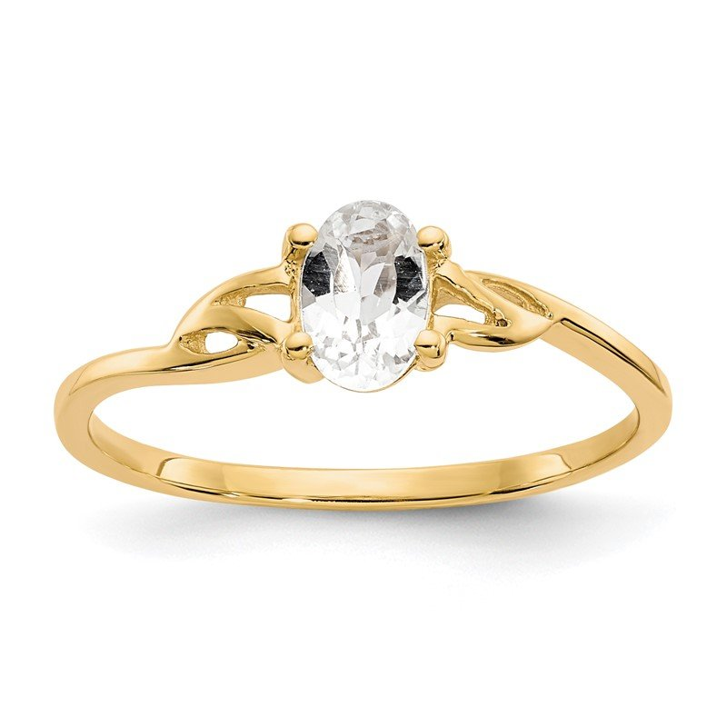 Quality Gold 14k White Topaz Birthstone Ring