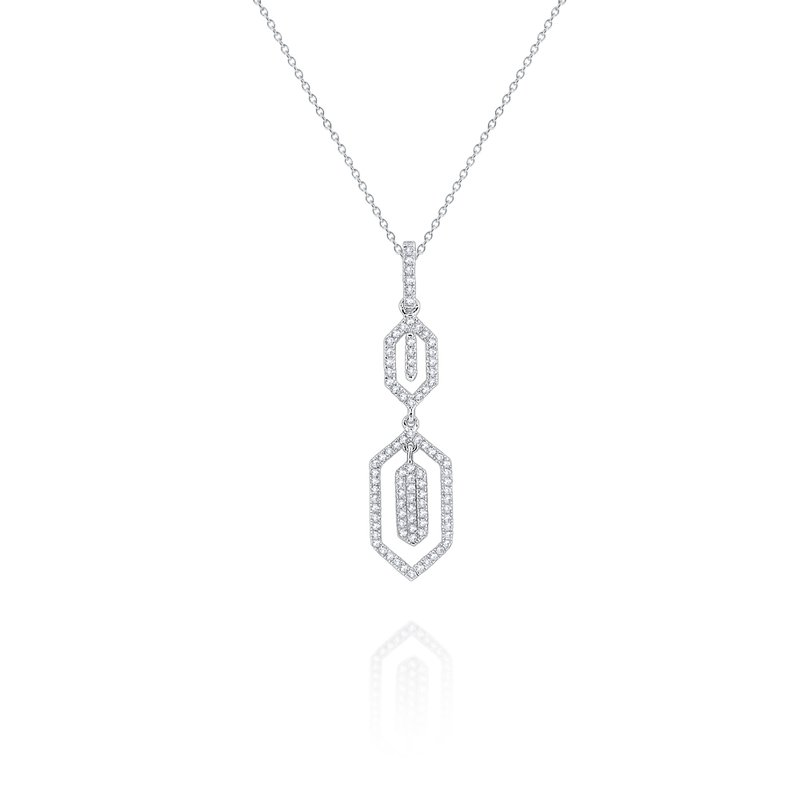 KC Designs Diamond Hexagonal Pendant Necklace Set in 14 Kt. Gold