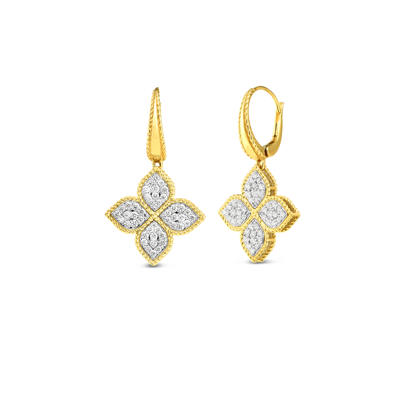 Roberto Coin 18K Gold & Dia Large Flower Drop Earring