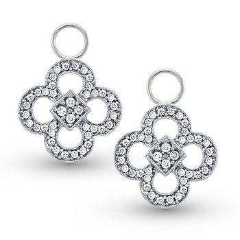 Diamond Clover Earring Charms in 14k White Gold with 80 Diamonds weighing .36ct tw.