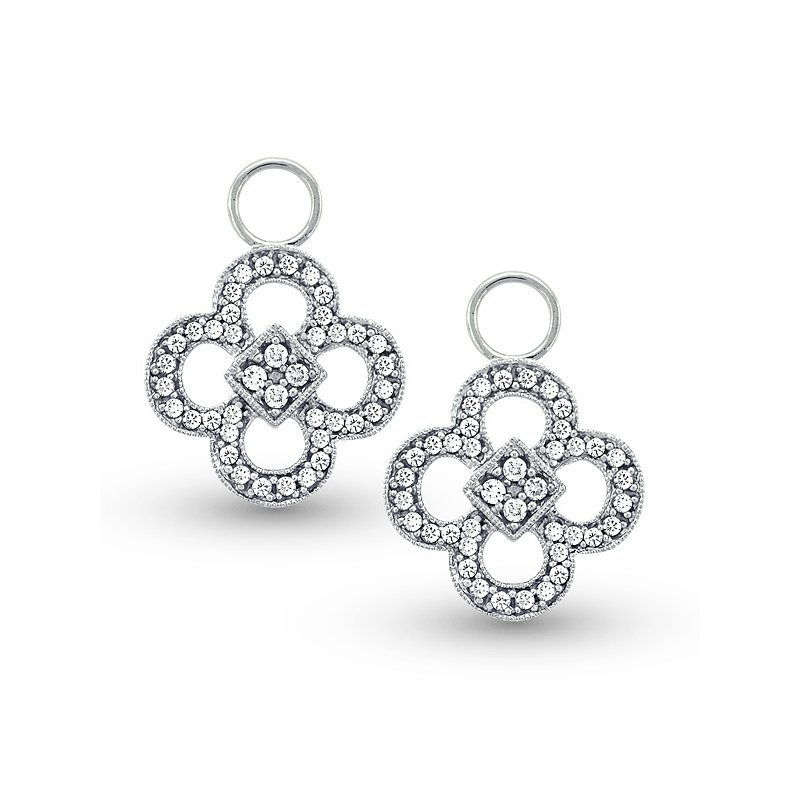 MAZZARESE Fashion Diamond Clover Earring Charms in 14k White Gold with 80 Diamonds weighing .36ct tw.