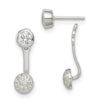 Sterling Silver CZ Removeable Front Back Post Earrings