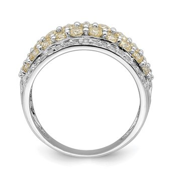 Sterling Silver Rhodium-plated Yellow & White CZ Fancy Ring