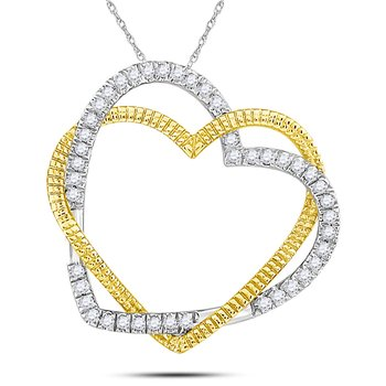 10kt Yellow Gold Womens Round Diamond Double Intertwined Heart Pendant 1/8 Cttw