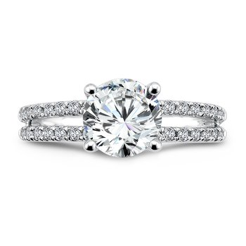 Split Shank Engagement Ring with Diamond Side Stones in 14K White Gold (1-1/2ct. tw.)