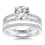 Caro74 Split Shank Engagement Ring with Diamond Side Stones in 14K White Gold (1-1/2ct. tw.)