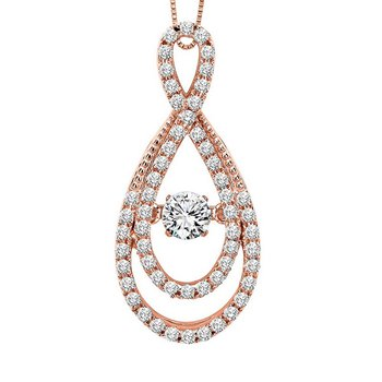 14KP Diamond Rhythm Of Love Pendant 5/8 ctw
