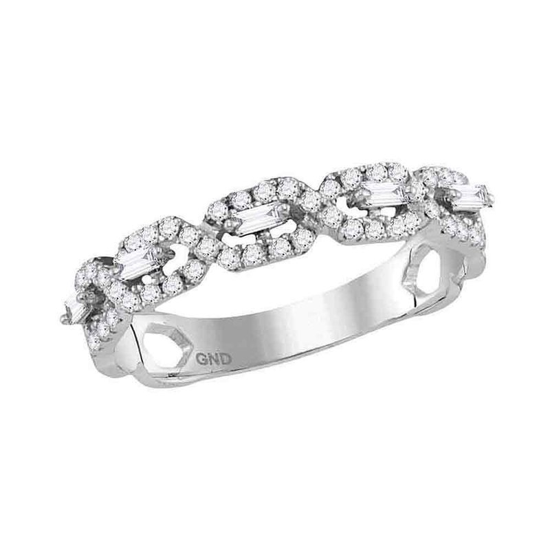 Gold-N-Diamonds, Inc. (Atlanta) 10kt White Gold Womens Round Diamond Twist Stackable Band Ring 1/3 Cttw