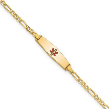 14k Medical Soft Diamond Shape Red Enamel Figaro ID Bracelet