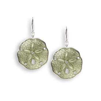 Green Sand Dollar Wire Earrings.Sterling Silver-White Sapphires