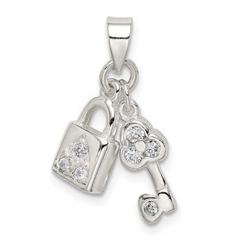 Sterling Silver CZ Lock & Key Pendant
