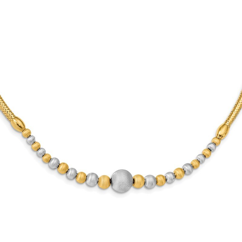 Quality Gold 14K Two-tone Brushed & Polished Fancy Necklace