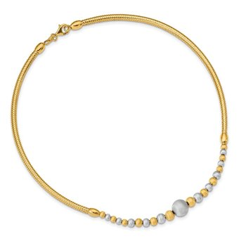 14K Two-tone Brushed & Polished Fancy Necklace