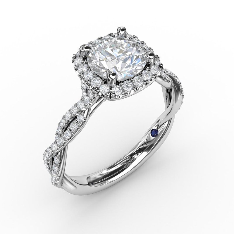 Fana Classic Cushion Diamond Halo Engagement Ring With Cathedral Twist Diamond Band