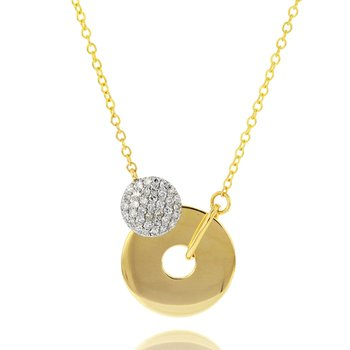 Yellow gold diamond Infinity crescent necklace