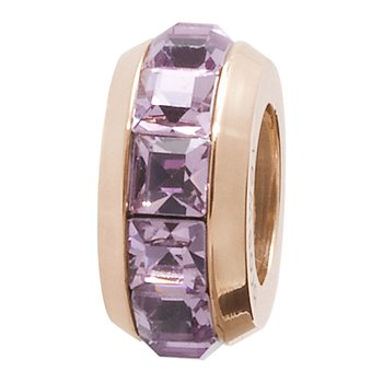 316L stainless steel, rose gold pvd and light amethyst Swarovski® Elements crystals