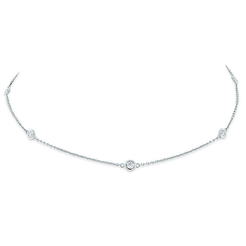 MAZZARESE Fashion Diamond By The Yard Necklace, 10 Diamonds weighing .65ct tw.
