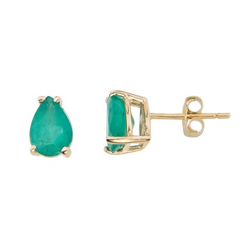 14k Yellow Gold Pear Shaped Emerald Earrings