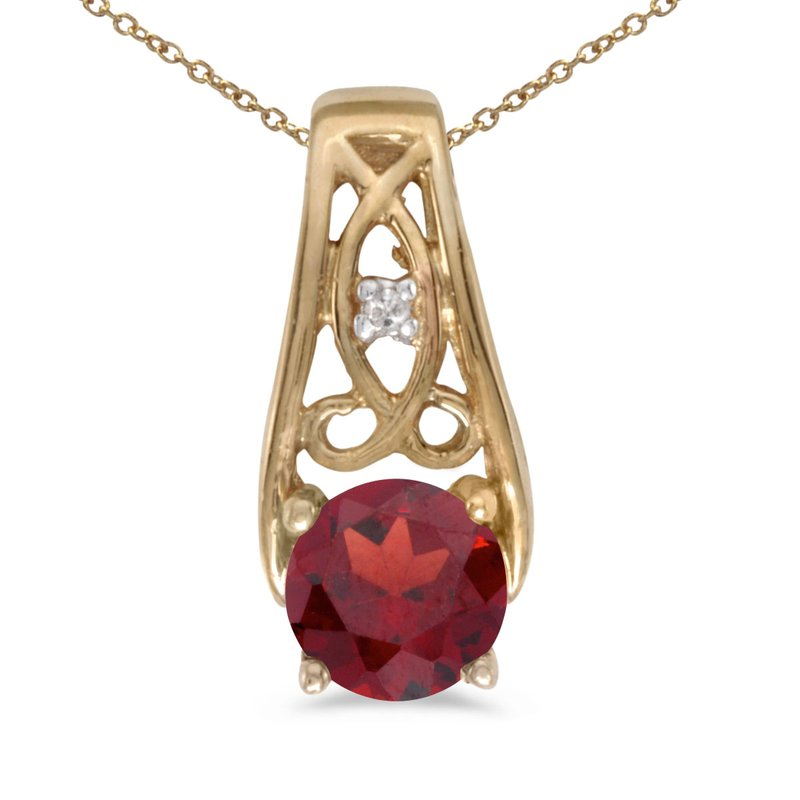 Color Merchants 10k Yellow Gold Round Garnet And Diamond Pendant