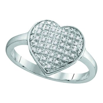 10kt White Gold Womens Round Diamond Heart Love Cluster Ring 1/10 Cttw