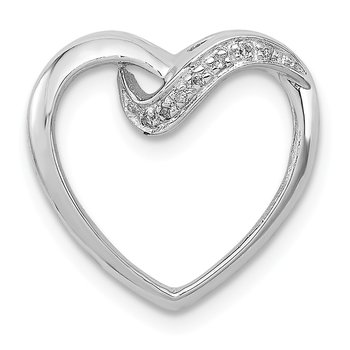Sterling Silver Rhodium Diamond Heart Pendant