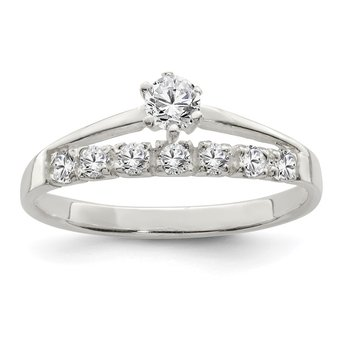 Sterling Silver Row and Solitaire CZ Ring