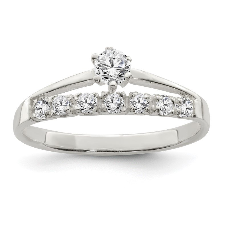 Quality Gold Sterling Silver Row and Solitaire CZ Ring