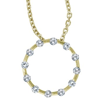 14K Yellow Gold Diamond Circle Pendant (.25 carat)