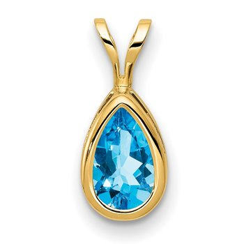 14k 8x5mm Pear Blue Topaz bezel pendant