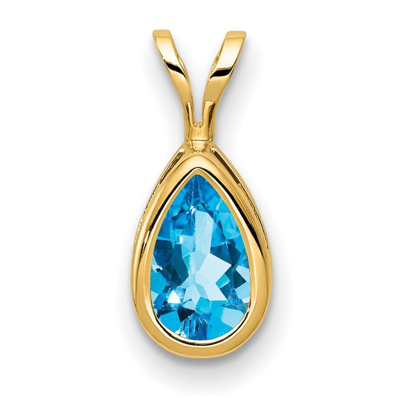 Quality Gold 14k 8x5mm Pear Blue Topaz bezel pendant