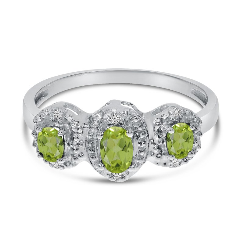Color Merchants 10k White Gold Oval Peridot And Diamond Three Stone Ring