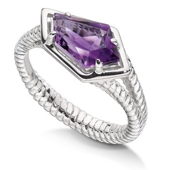 Sterling silver and purple amethyst ring