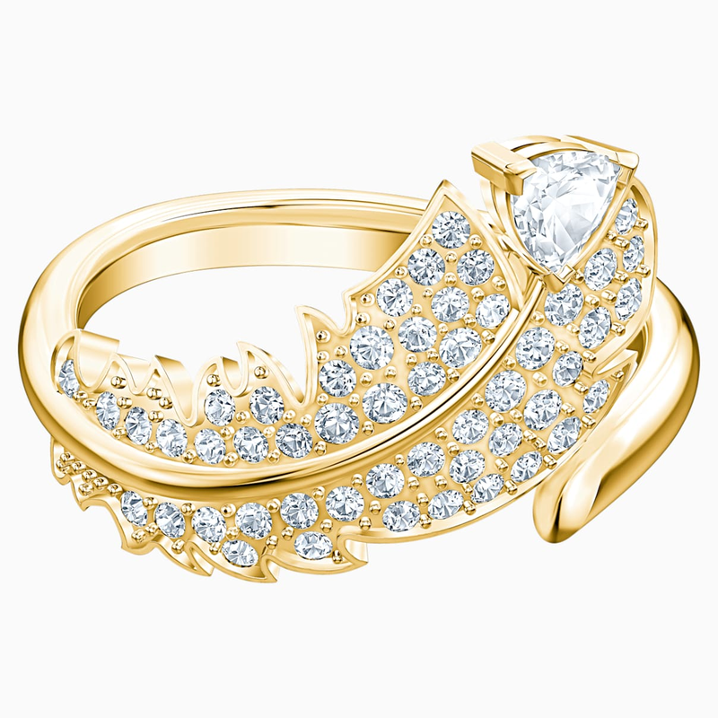Swarovski Nice Motif Ring, White, Gold-tone plated
