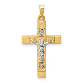 14k Two-tone Hollow Polished Textured Latin Crucifix