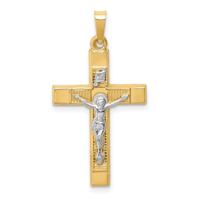 Quality Gold 14k Two-tone Hollow Polished Textured Latin Crucifix